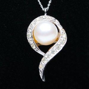 Panetta Silver, Pearl Rhinestone Pendant Necklace